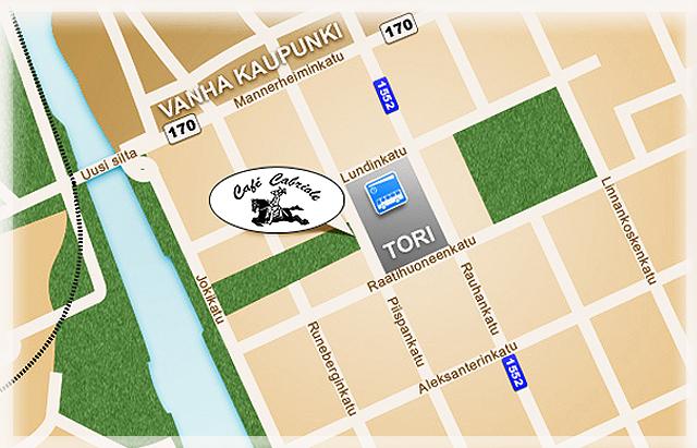 Kartta, joka näyttää missä Café cabriole on